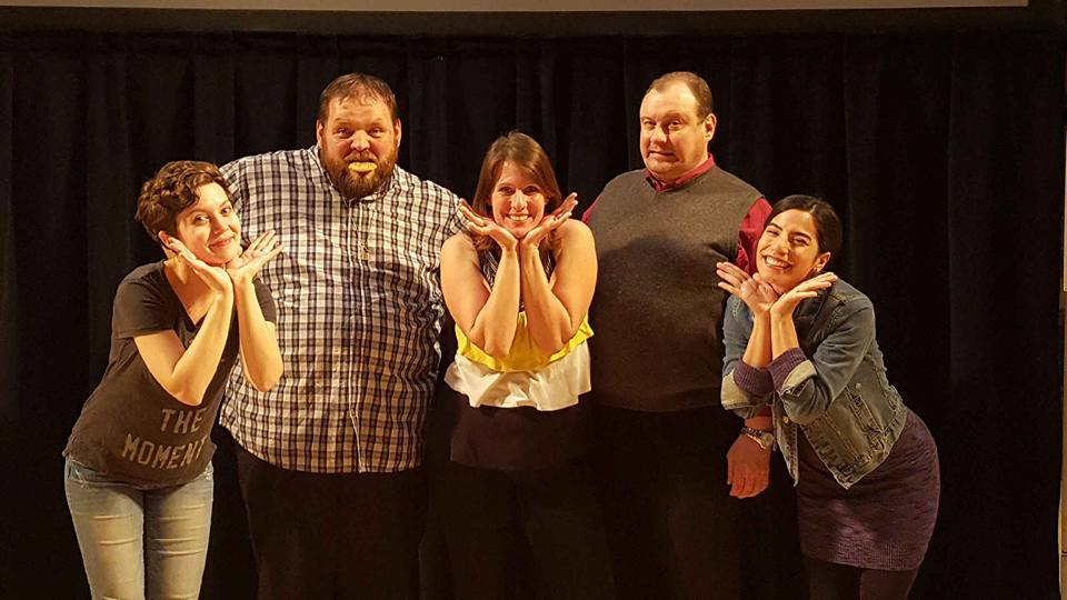 Brooke Simkins, Dave Ebert, Angela Beckefeld, Jim Bushy & Anna Yee ham it up for the audience after a show.