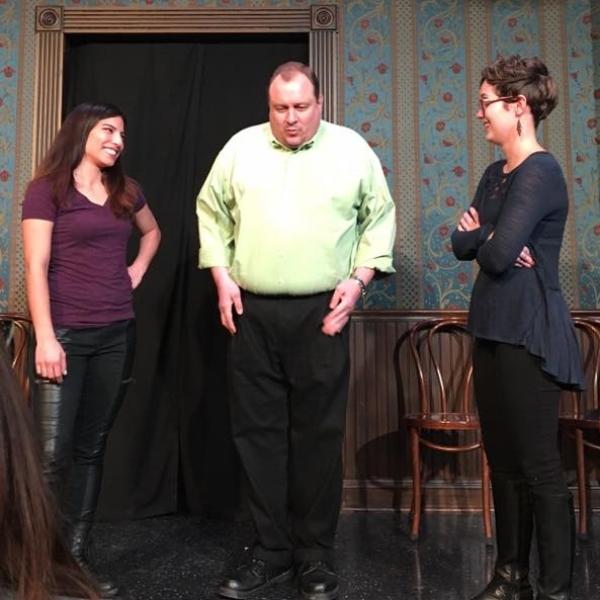 Anna Yee, Jim Bushy & Brooke Simkins performing improv.
