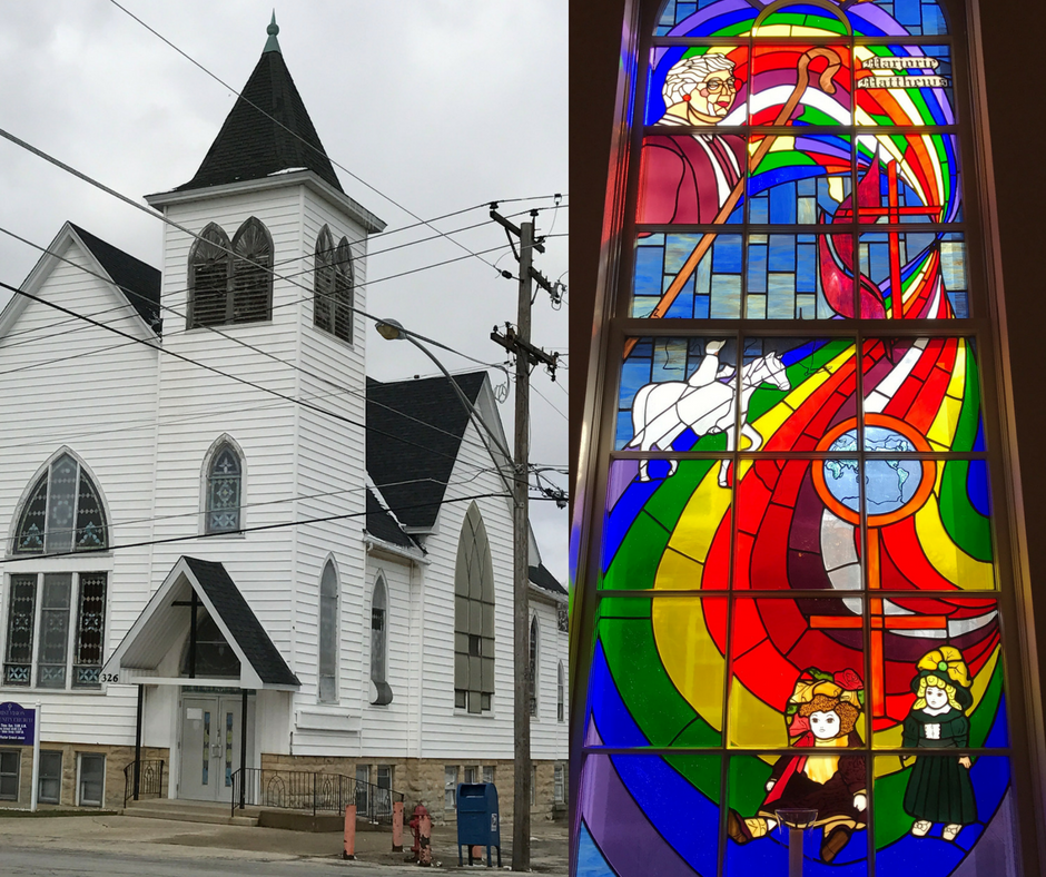 Christ Vision Building is at 18th & Washington. Stained Glass is from First Lockport United Methodist on 10th Street.