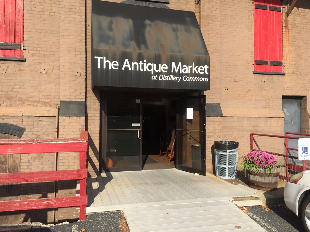The entrance to Antiques at Distillery Commons, housed in what was formerly one of the largest whiskey warehouses in the world.