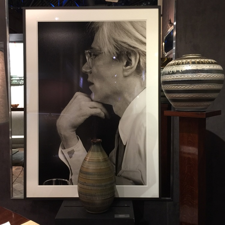 I loved the sophisticated combination of the photograph of Andy Warhol and the antique pottery vessels found at Maison Gerard.