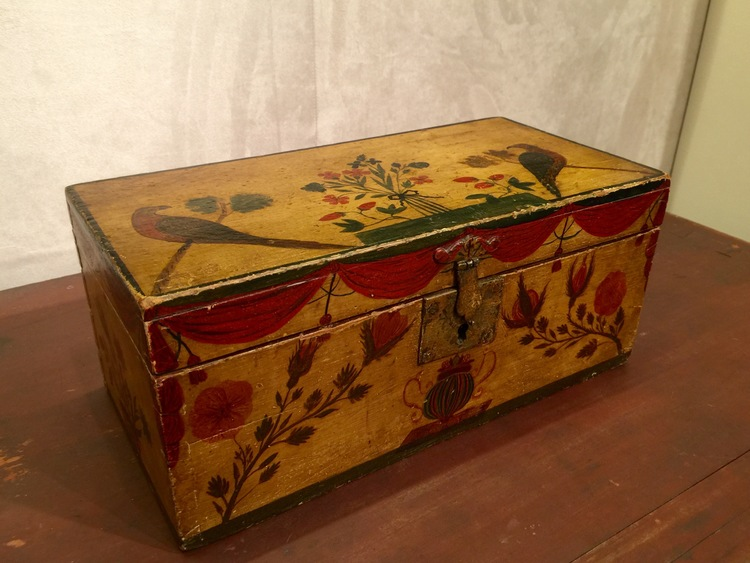 I am a box collector so I was naturally drawn to this extraordinary decorated pine box at Old Hope Antiques, Inc..  The box was crafted in Maine, circa 1830, and has a wonderful wallpaper lining.