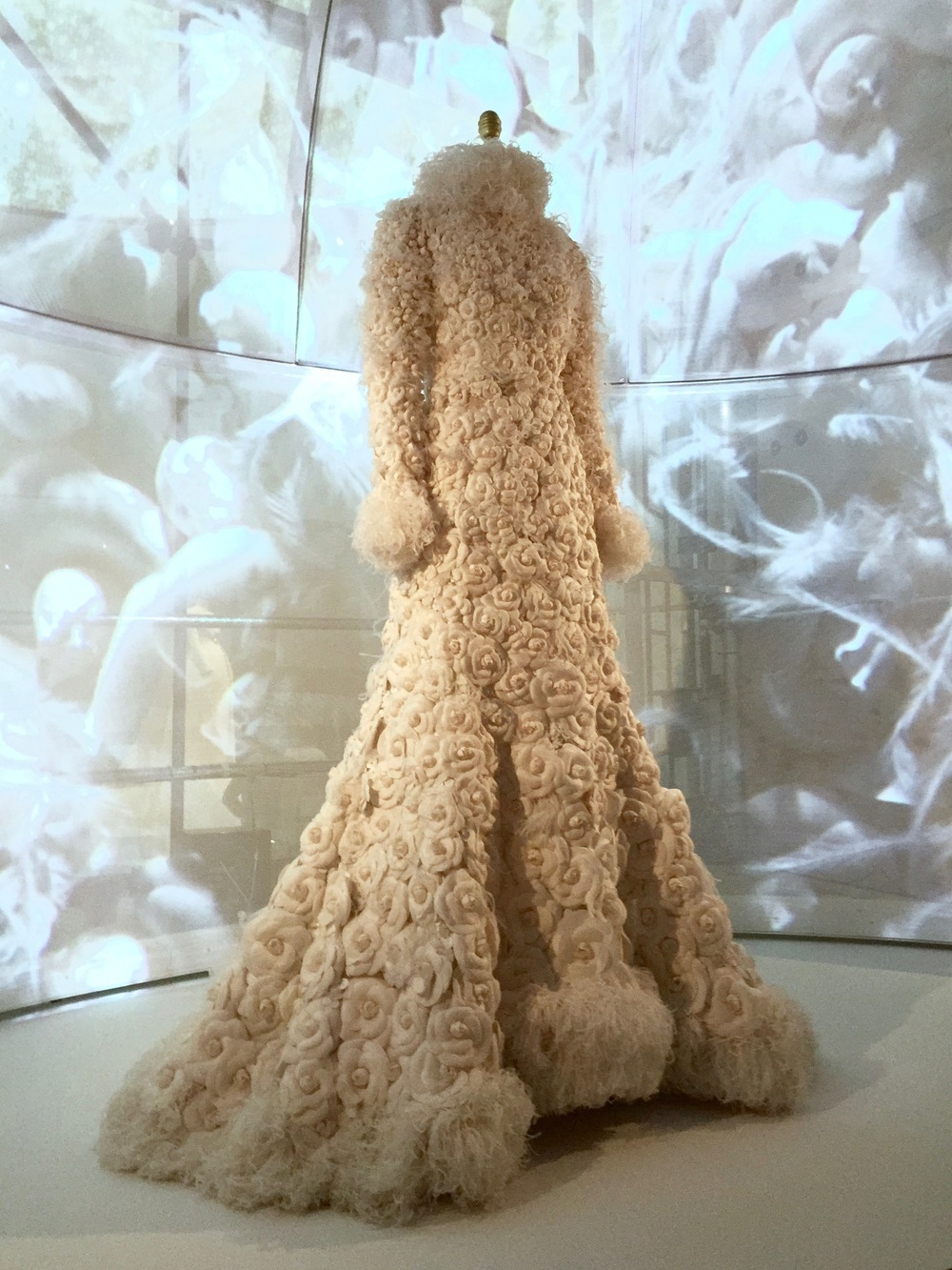 "HOUSE OF CHANEL, Karl Lagerfeld WEDDING ENSEMBLE (back view), Autumn/Winter 2005-6, haute couture ""I covered it entirely in camellias.  It's like a giant bouquet.  Quite funny, no?  No one is working with flowers in this way."" - Karl Lagerfeld"
