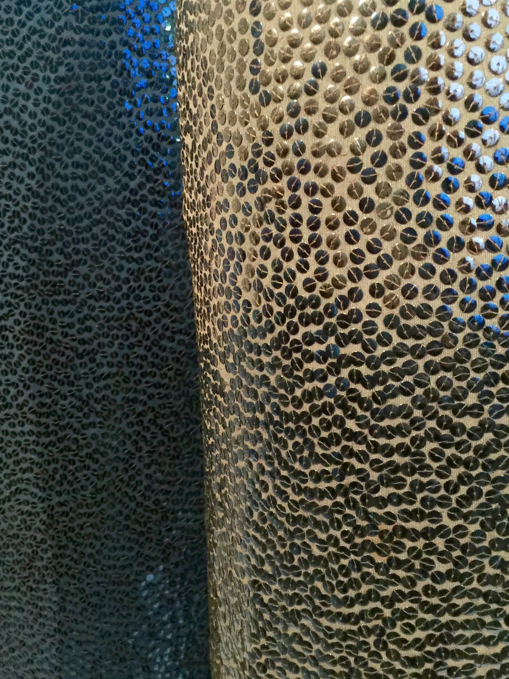 Detail of the hand-embroidered ombré gelatin sequins