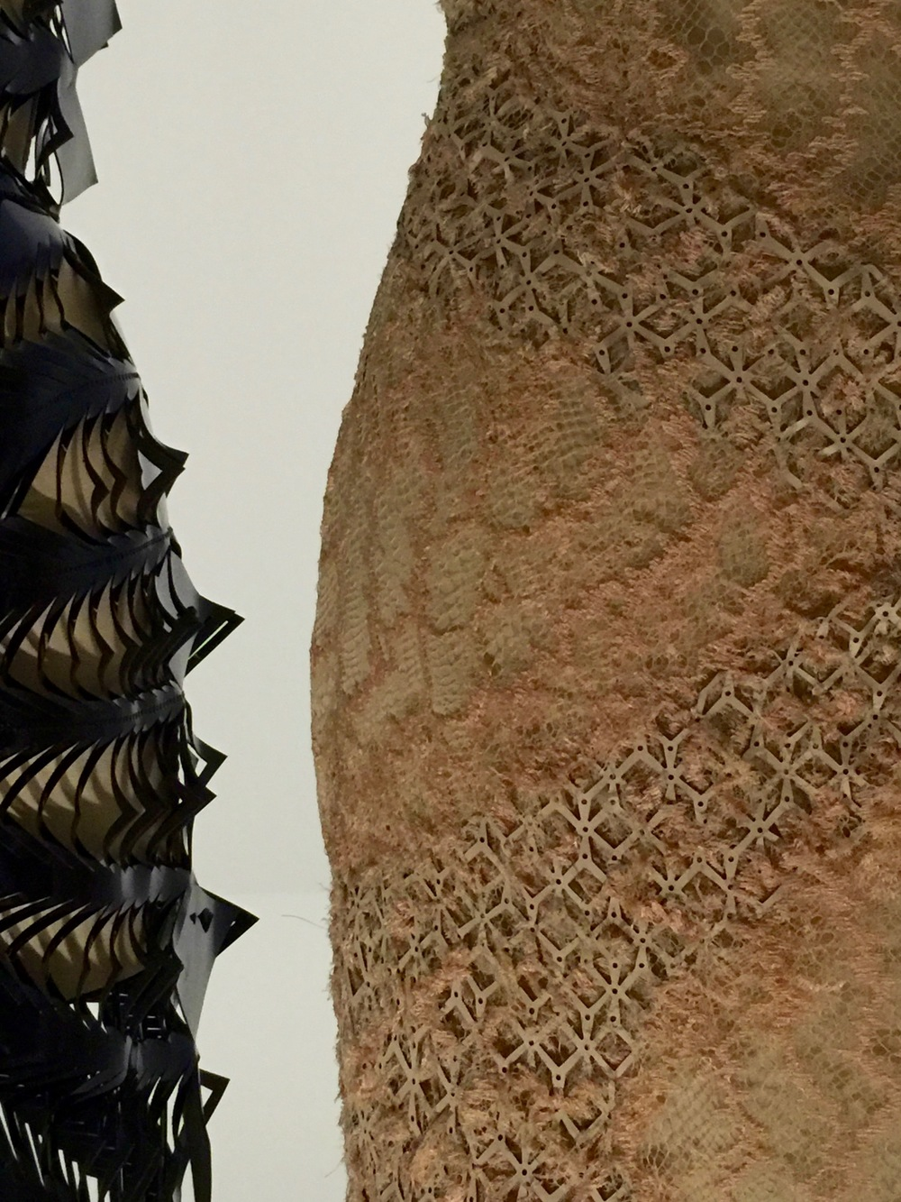 Details of laser-cut leathers