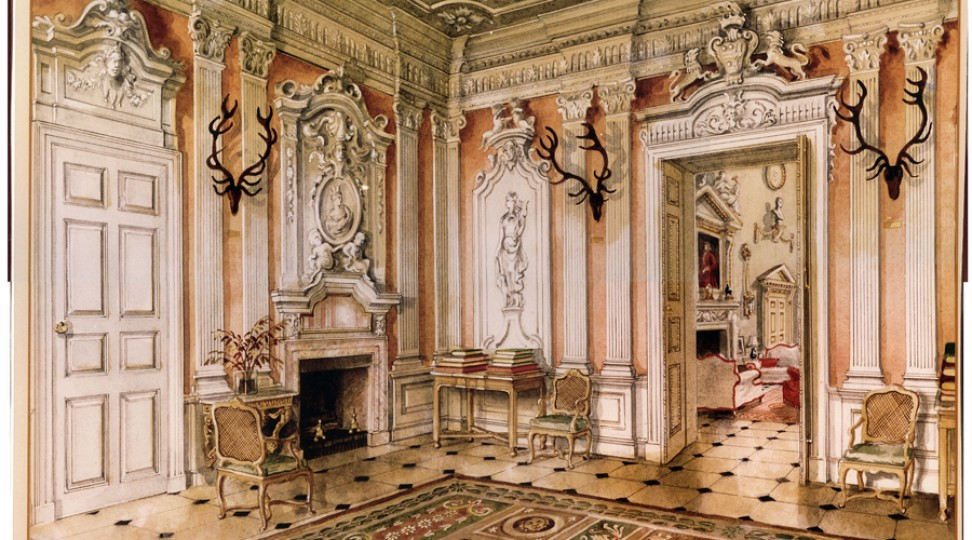The Saloon, from a painting by Alexandre Serebriakoff. Ronald Tree's second wife Marietta commissioned a series of paintings of Ditchley as a memento of his occupancy in the 1930s and 1940s.  http://www.ditchley.co.uk/gallery/the-interiors