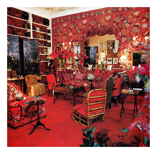 "Diana Vreeland requested that Baldwin transform her drawing room into a ""garden in hell."""