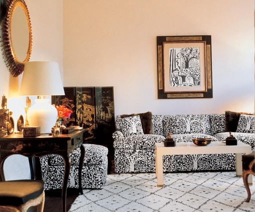 "Billy Baldwin designed this patterned black-and-white textile, Arbre de Matisse Reverse (formerly called ""Foliage""), in 1965 with and for client Woodson Taulbee.  The inspiration came from the black ink tree in the background of the Matisse painting above the sofa."