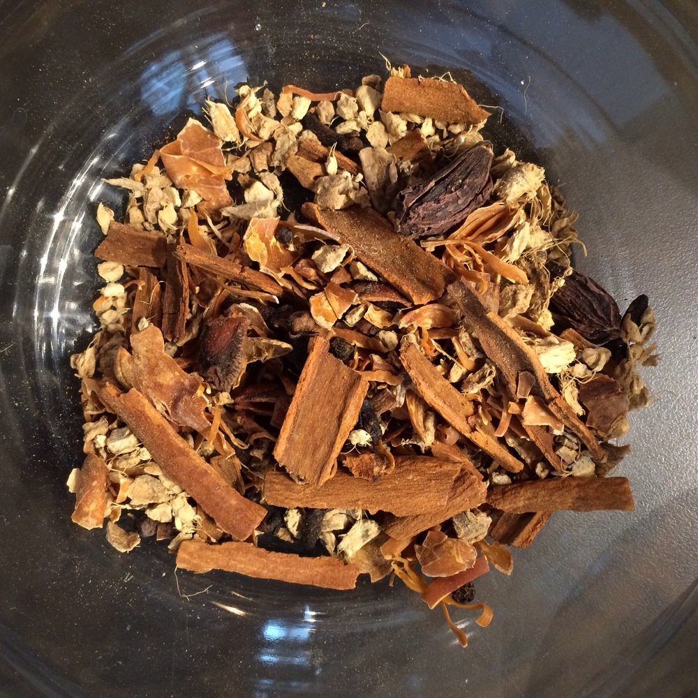 My chai spices include cinnamon, black pepper, cloves, mace, black cardamom, ginger, and star anise