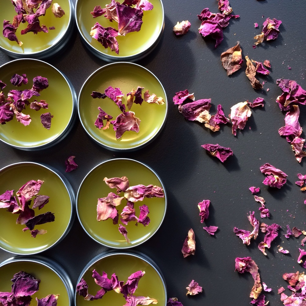 Roses & Honey Salve in 1/2 oz tins, topped with dried rose petals