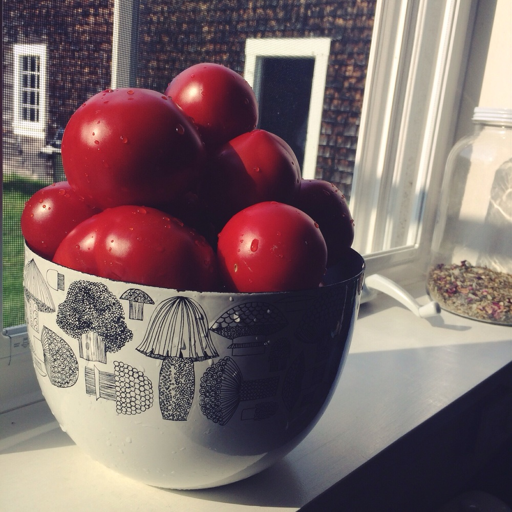 A tower of tomatoes in my favorite bowl.