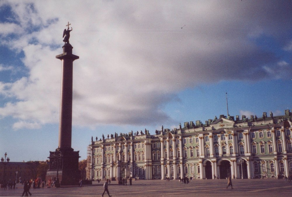 Palace Square, outside the Hermitage, scene of many historic events in Russian history and the site of many rendezvous with my Russian friends.