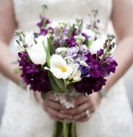 The purple in this bouquet