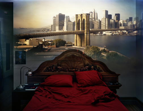 ABELARDO MORELL,  CAMERA OBSCURA: VIEW OF THE BROOKLYN BRIDGE IN BEDROOM, 2009,  COURTESY HAINES GALLERY, SAN FRANCISCO