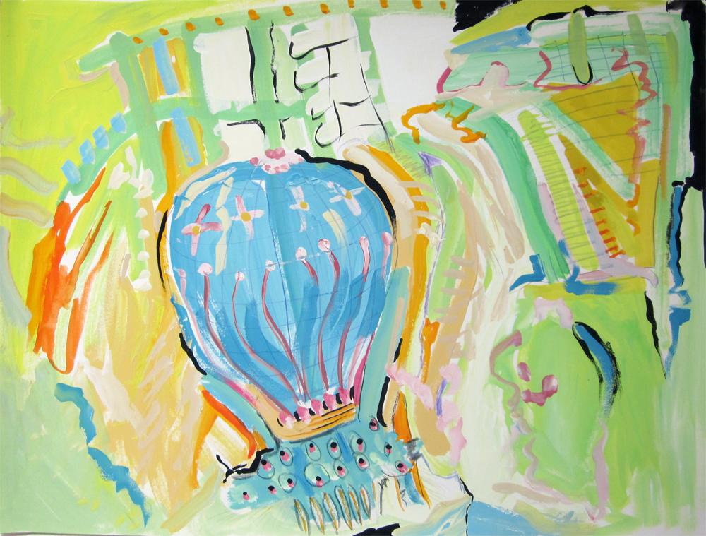 "Airborne  12"" x 16"" gouache on paper 2010"