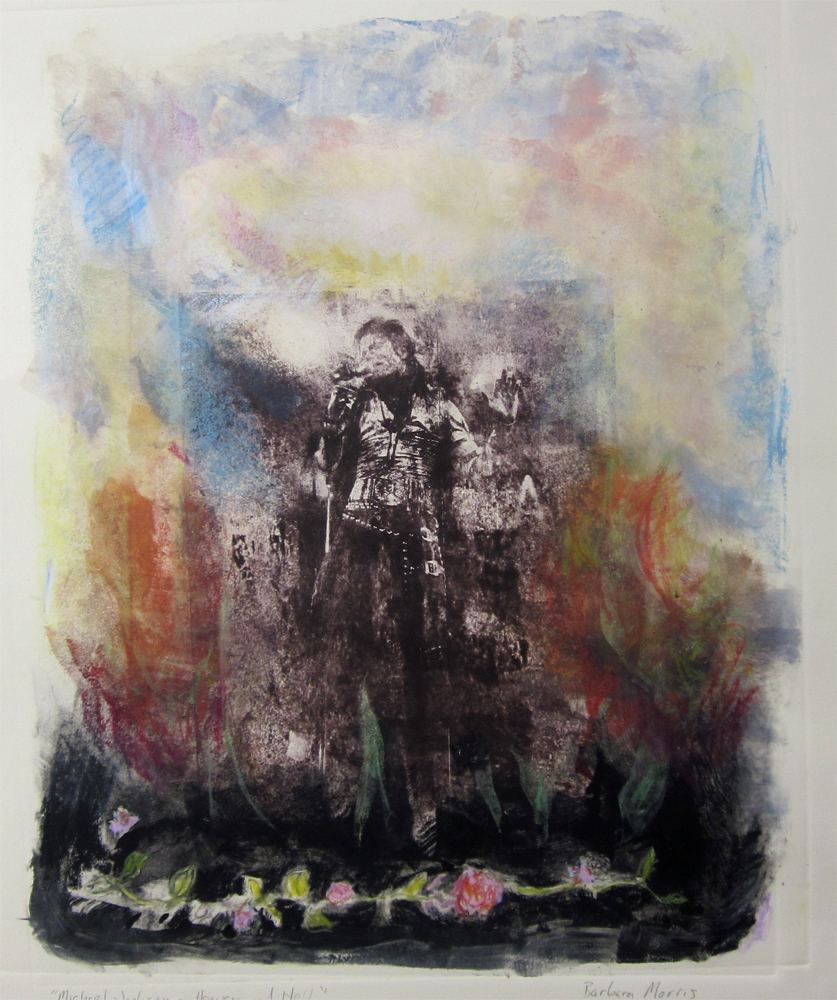 "Michael Jackson (Heaven and Hell) 30"" x 22"" monotype 2010"