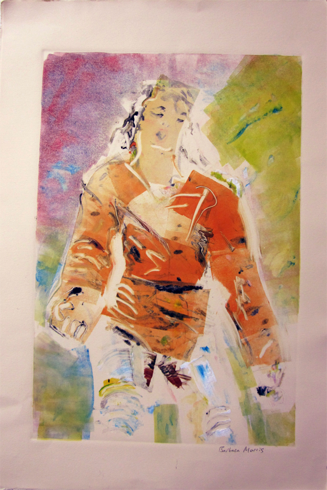 "Michael Jackson(Moonsuit ghost) 30"" x 22"" monotype 2010"