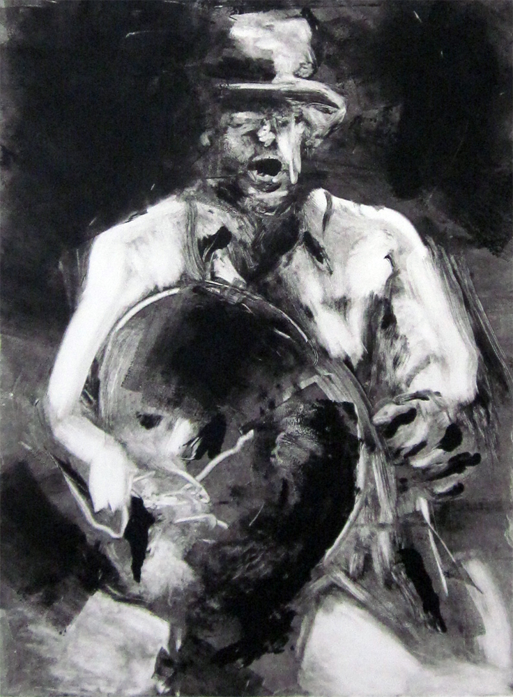 "The Man in the Felt Hat	30"" x 22""	monotype 2010"