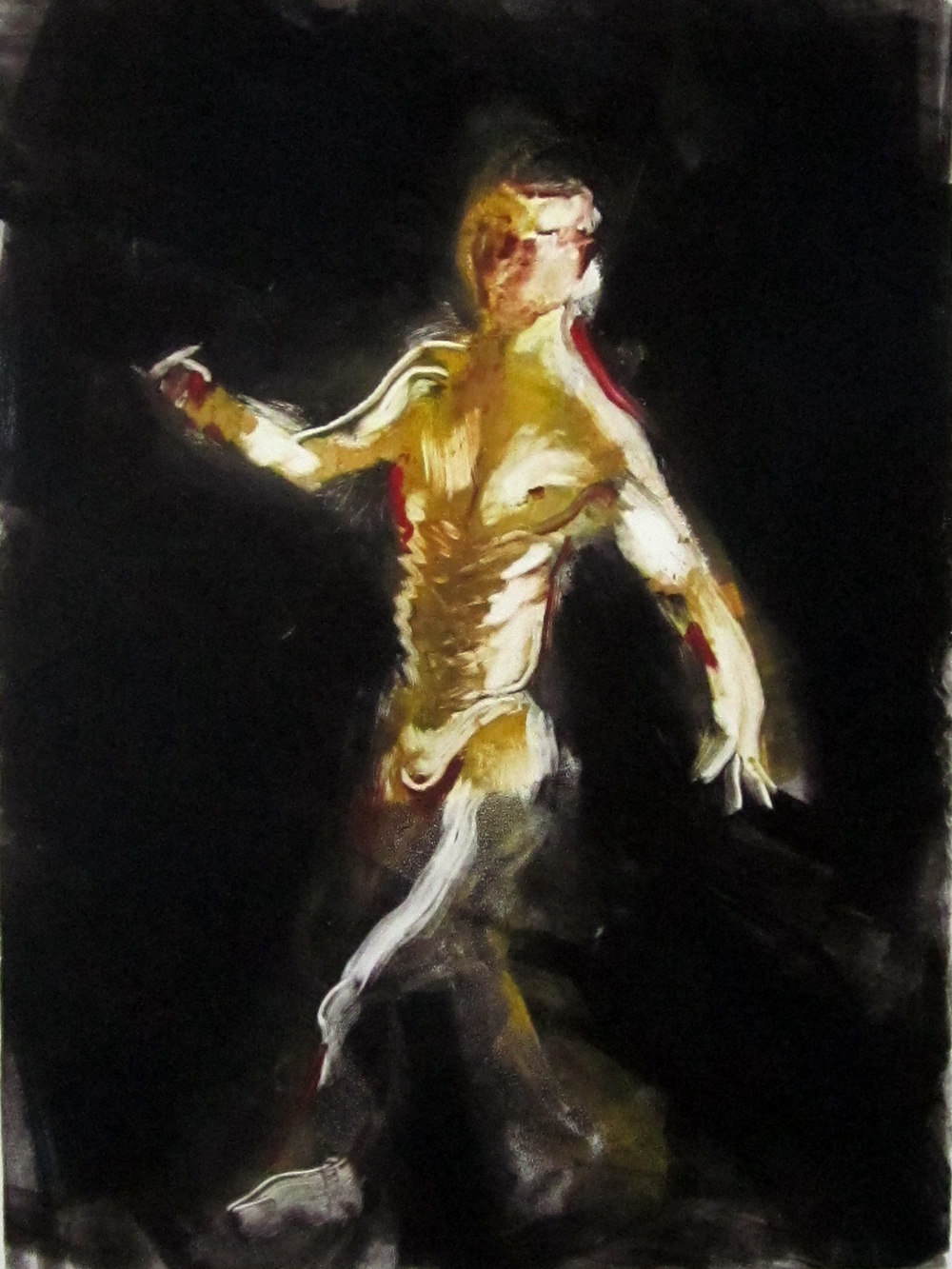 "Walking (black) 30"" x 22""	monotype 2010"