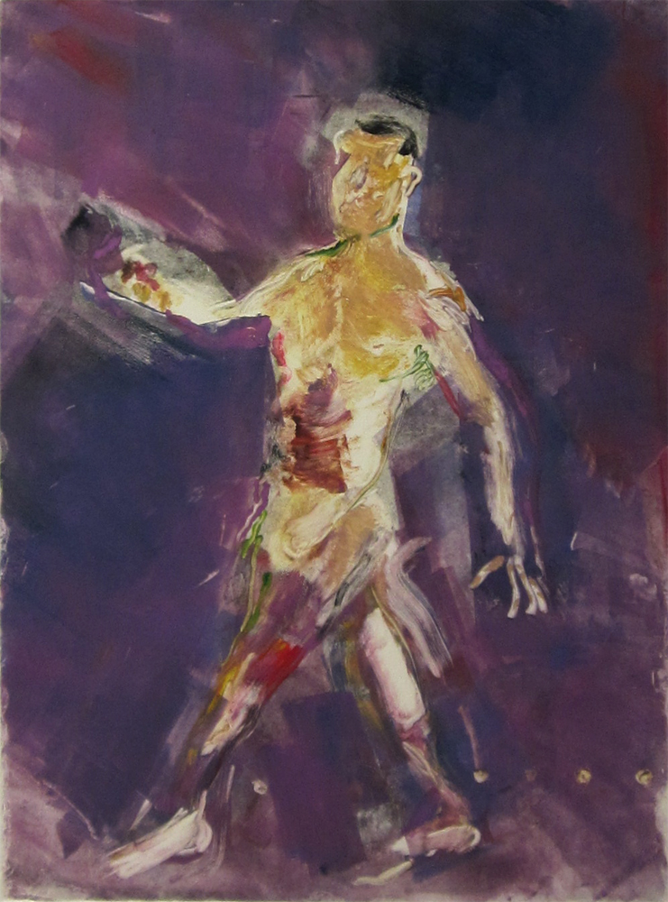 "Walking (gold and purple) 30"" x 22""	monotype 2010"