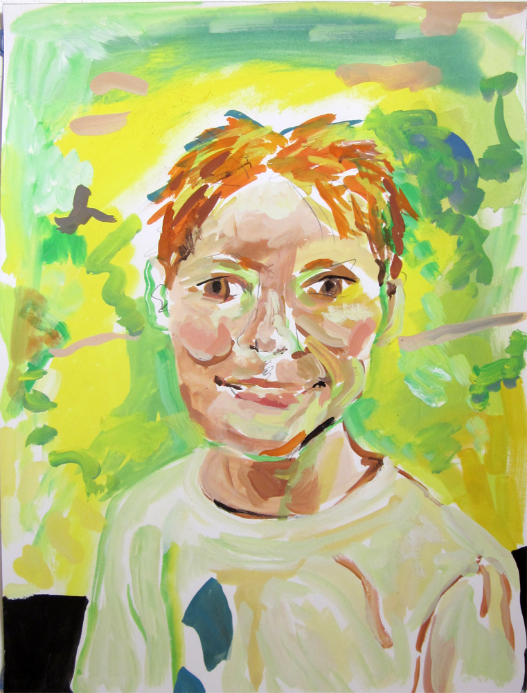 "Boy				16"" x 12""	gouache on paper		2010"