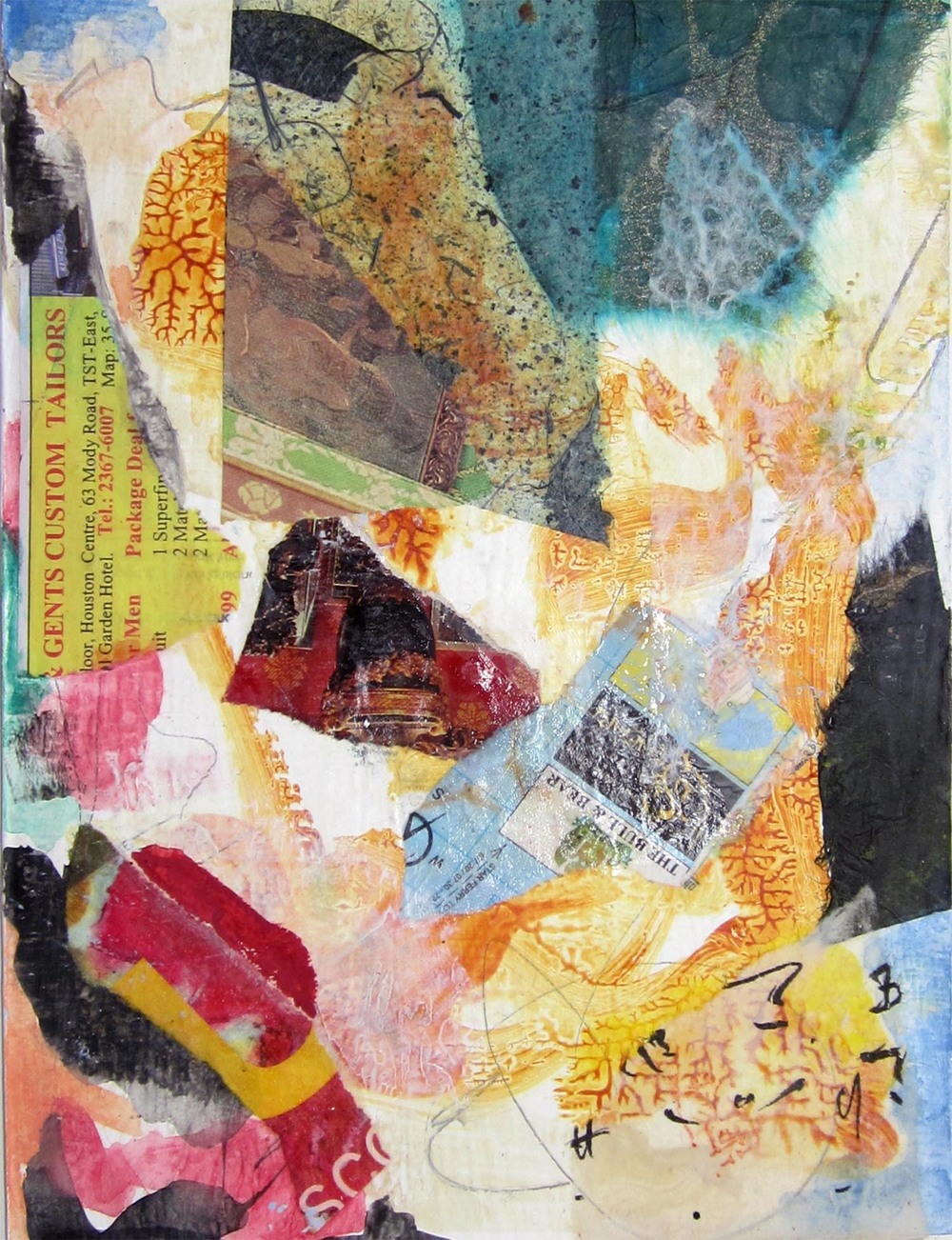"Hong Kong Series III, mixed-media, 6"" x 4"" 2014"