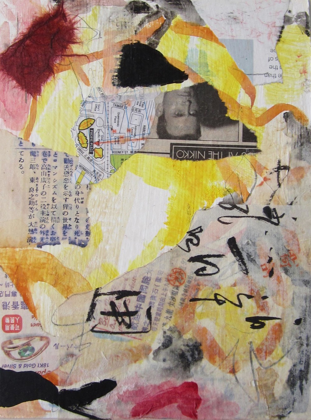 "Hong Kong Series IV, mixed-media, 6"" x 4"" 2014"