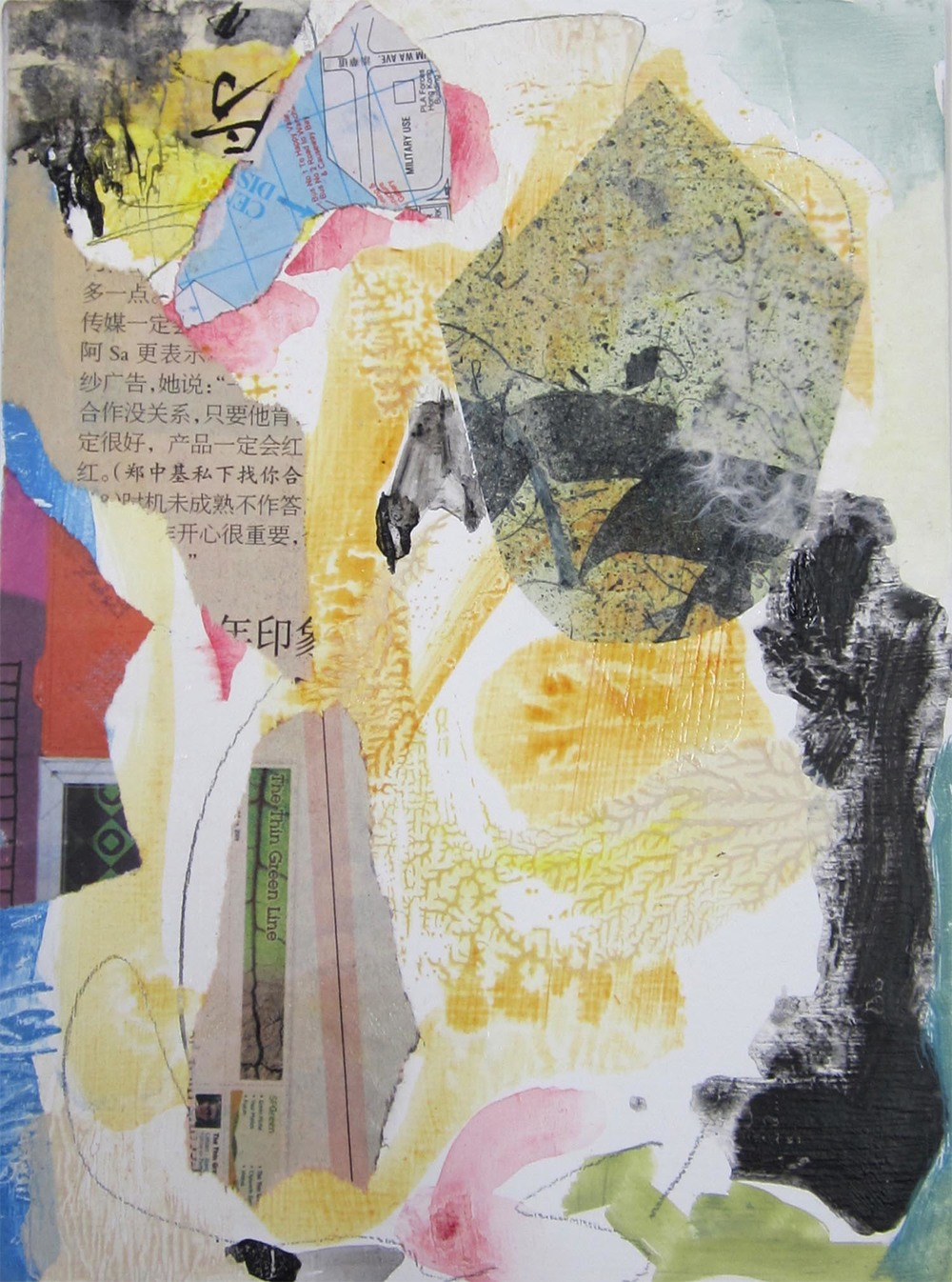 "Hong Kong Series VI, mixed-media, 6"" x 4"" 2014"
