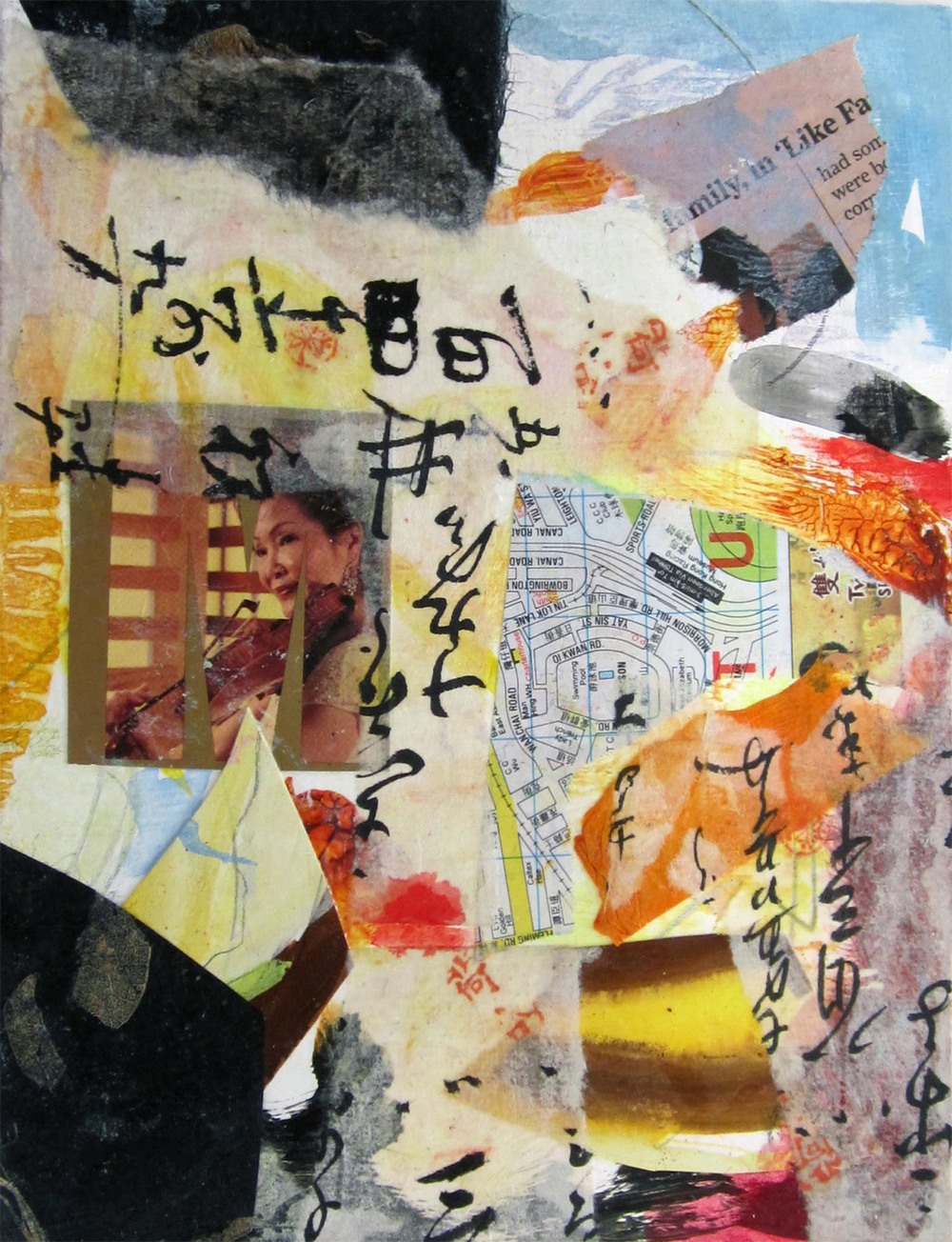 "Hong Kong Series IX, mixed-media, 6"" x 4"" 2014"