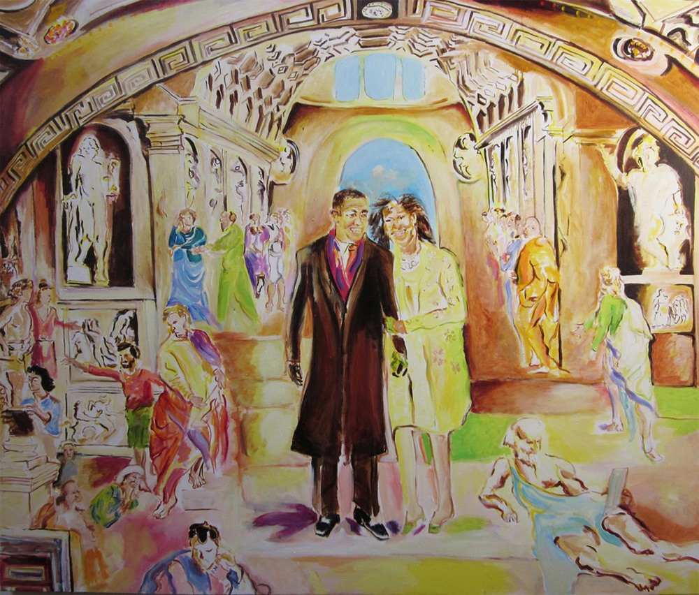 "School of Athens	60"" x 72""	oil on canvas	2010"