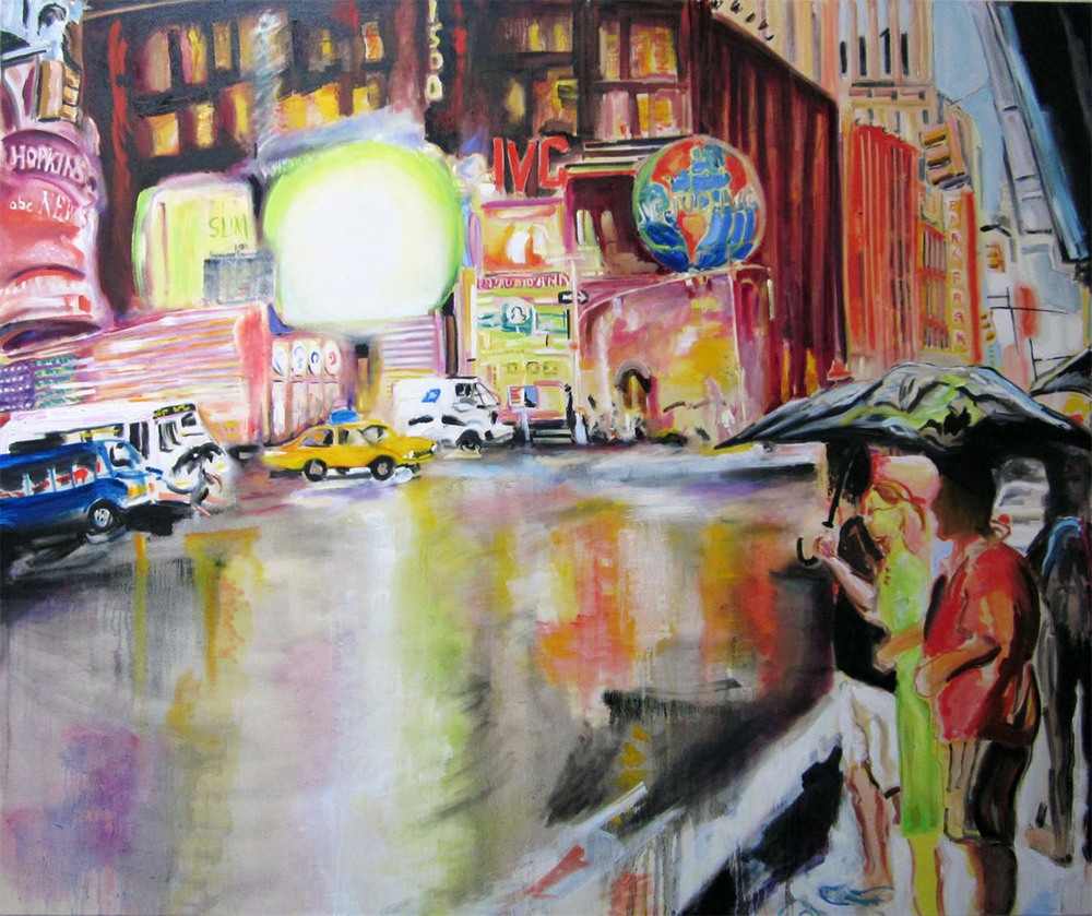 "Times Square in the Rain, o/c 60"" x 72"" 2012"