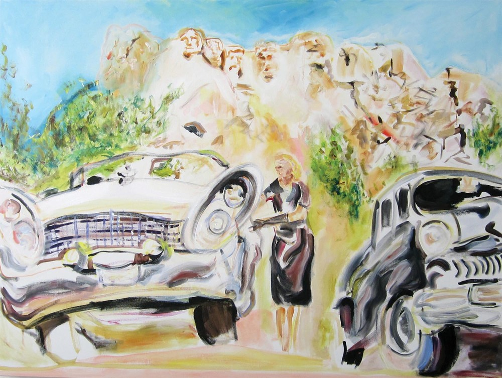 "1958 Lincoln Continental Mark III 	acrylic on canvas	30"" x 40""	2012"