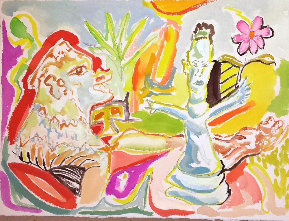 "Checkmate, gouache on paper, 11"" x 15"" 2014"