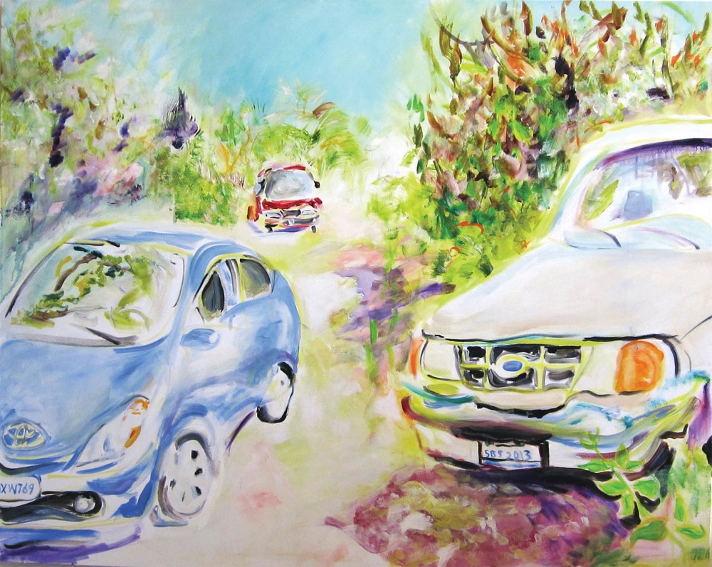 "1994 Ford Ranger, 1997 ToyotaPrevia, 2007 Toyota Prius	acrylic on canvas	48"" x 60"" 	2012"