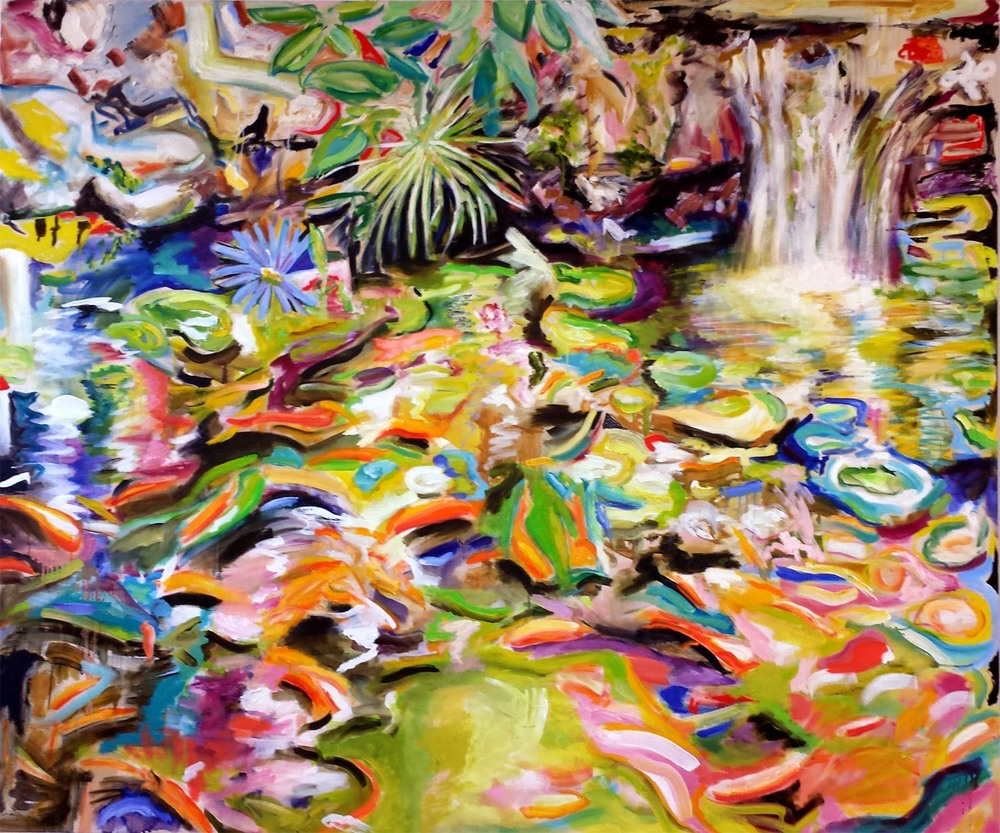 "Koi Pond I, oil on canvas, 60"" x 72"" 2014"