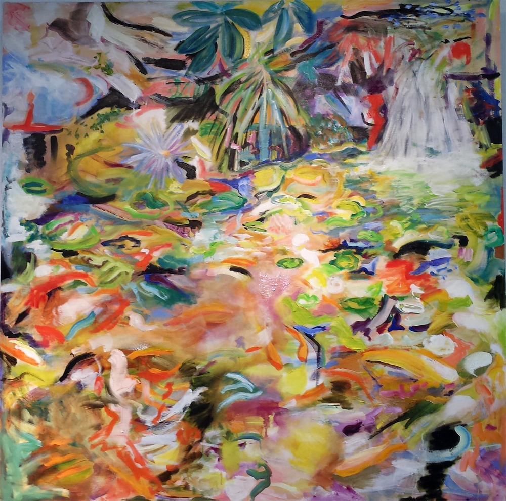 "Koi Pond II, oil and acrylic on canvas, 48"" x 48"" 2014"