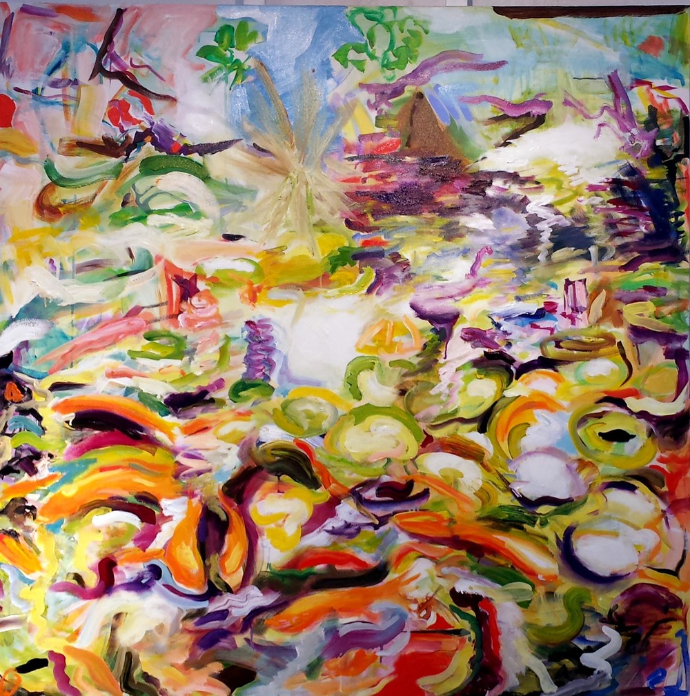 Koi Pond 4, oil and acrylic on canvas 2014