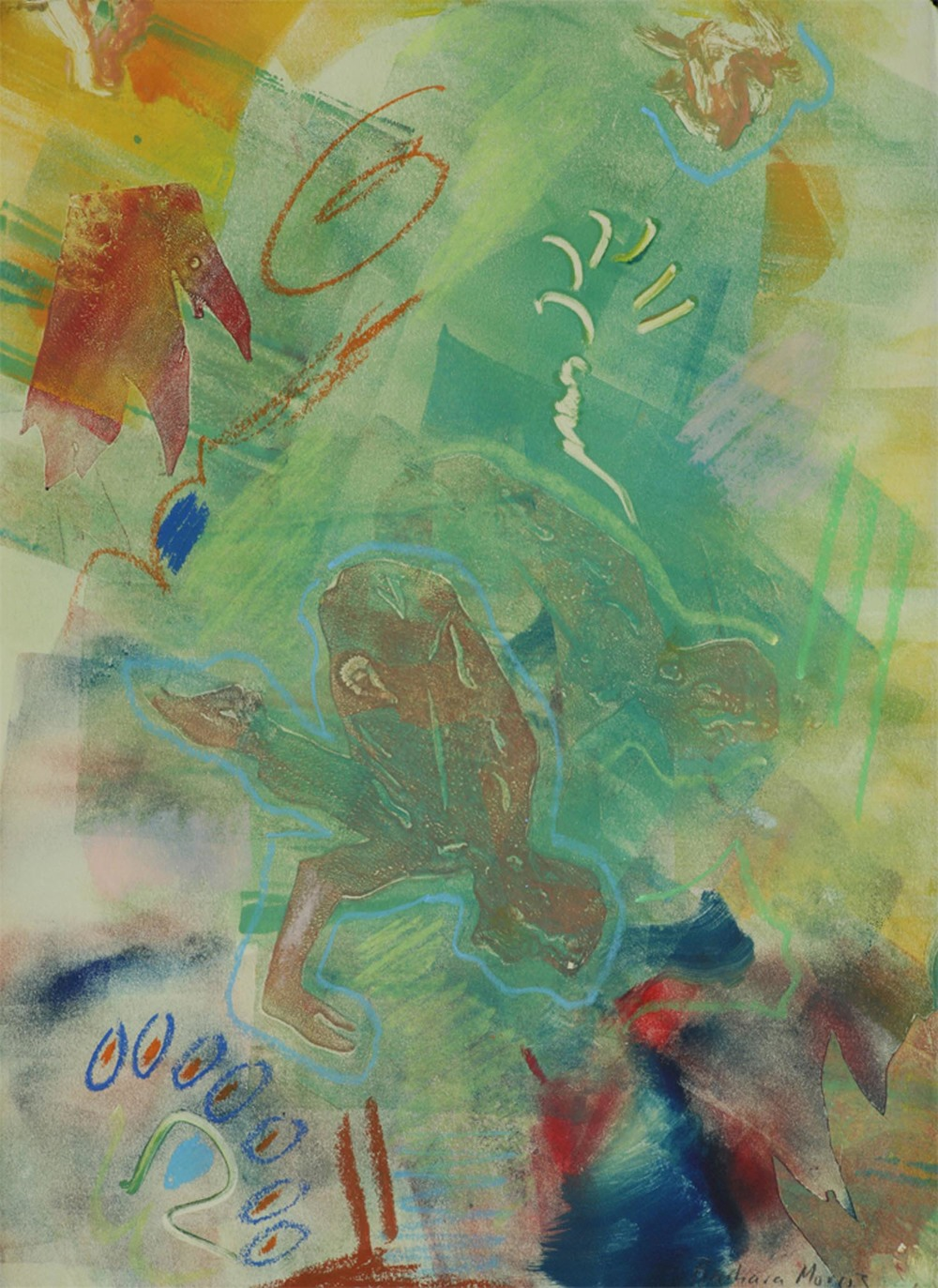 "Bakasana 15"" x 11"" monotype 2009"