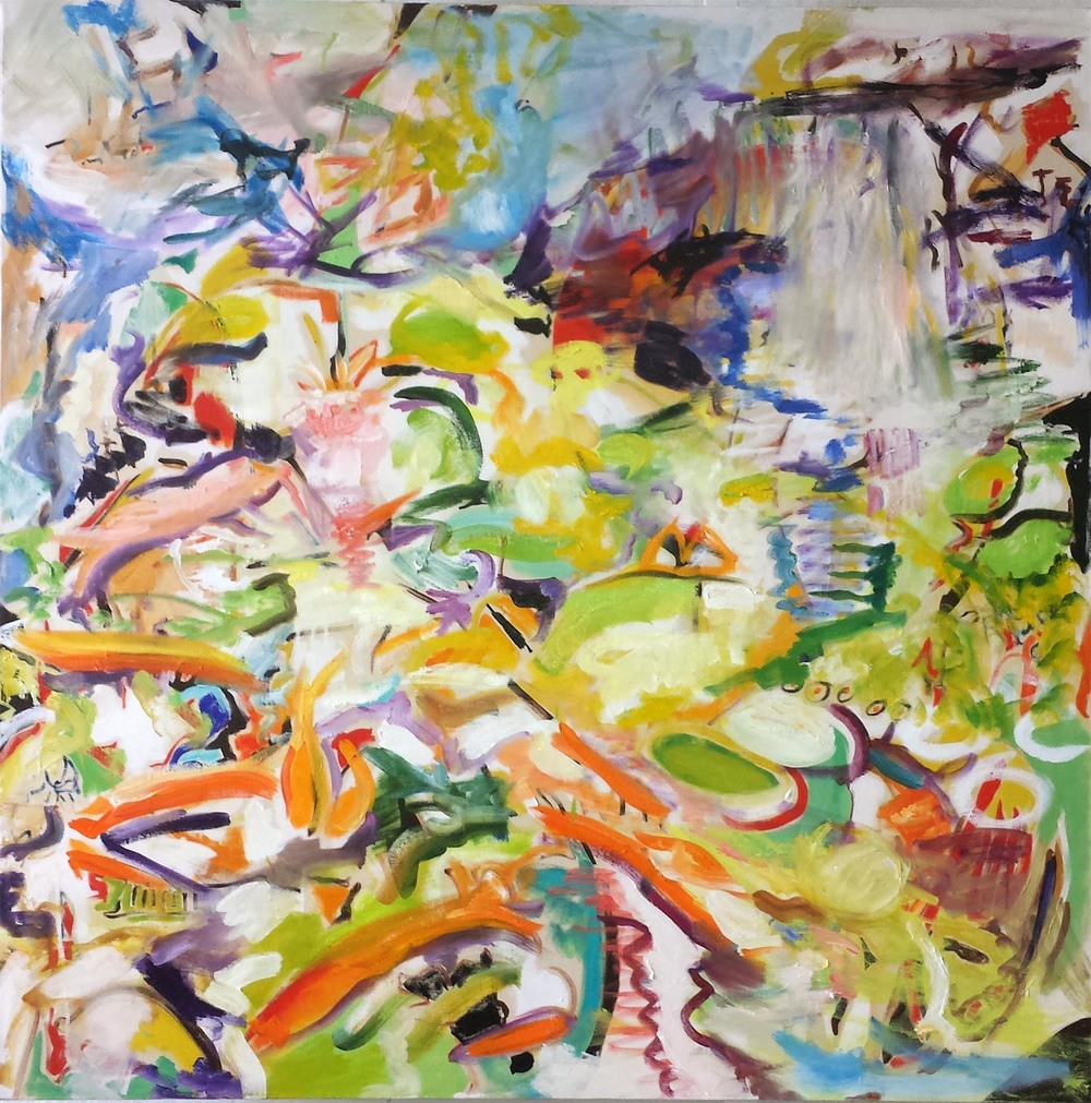 "Koi Pond V, oil and acrylic on canvas, 48"" x 48"" 2014"
