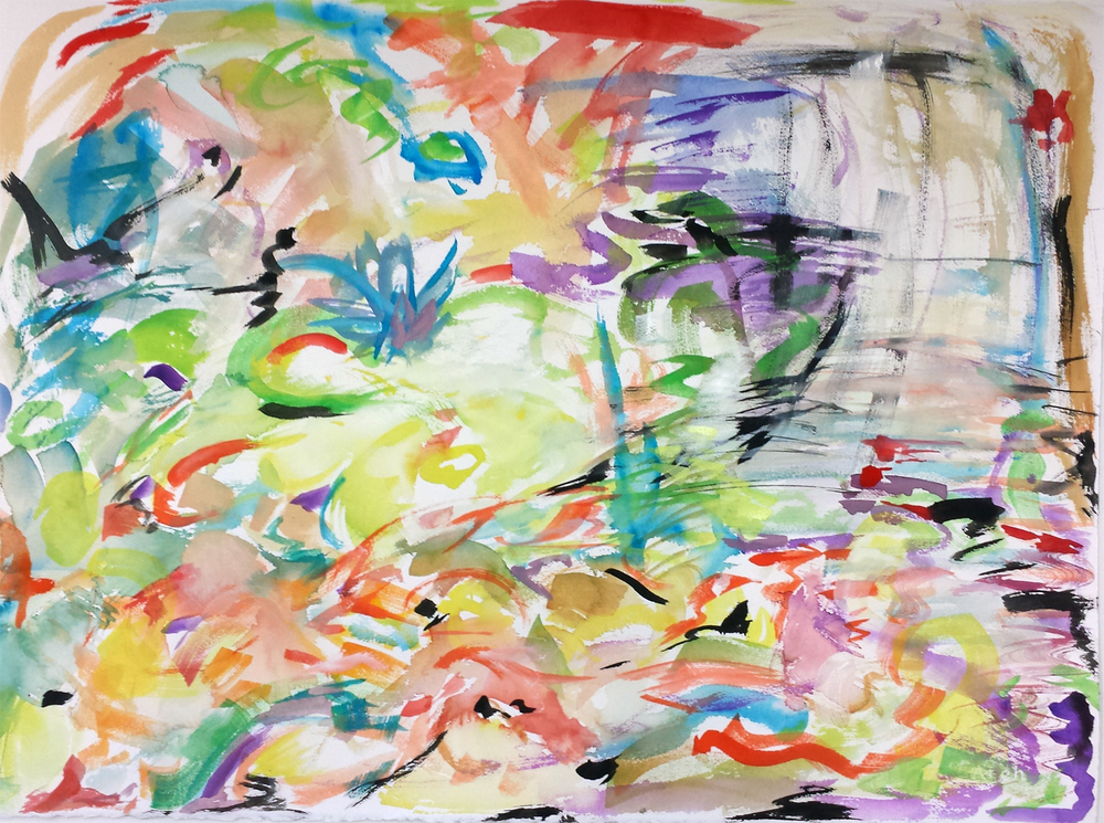 "Koi Impression II, gouache on paper, 22"" x 30"" 2015"