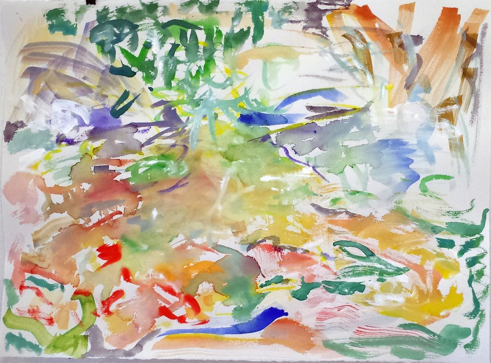 "Koi Impression III, gouache on paper, 22"" x 30"" 2015"
