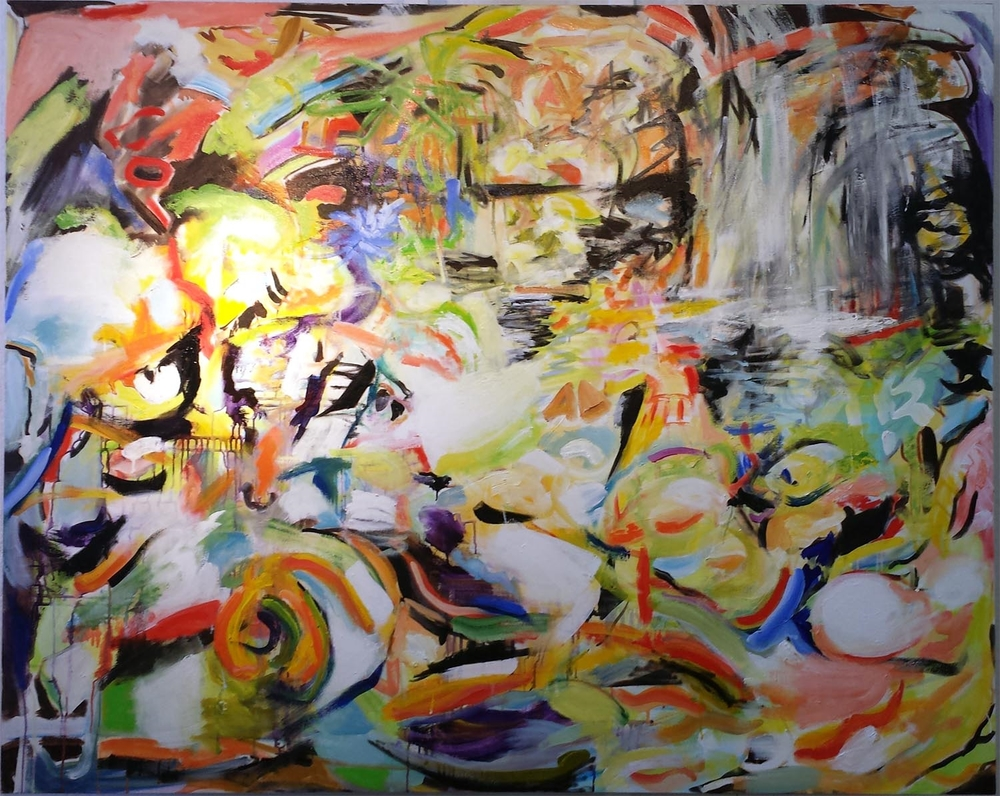 "Koi Pond VIII, oil on canvas, 48"" x 60"" 2015"