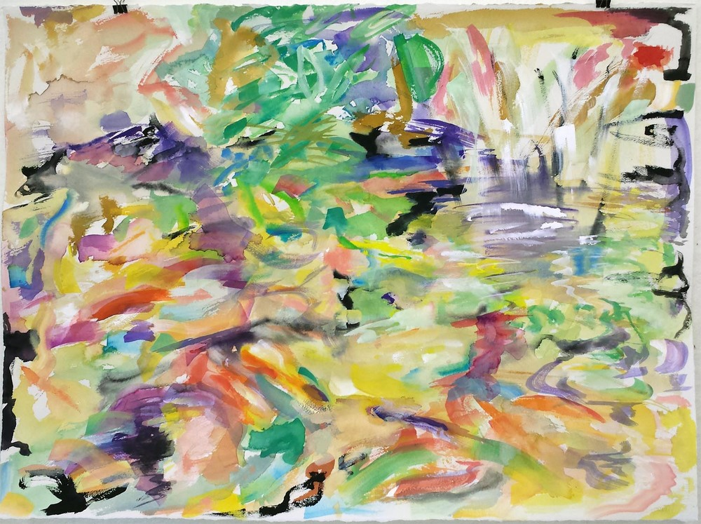 "Koi Impression IV, gouache on paper, 22"" x 30"" 2015"