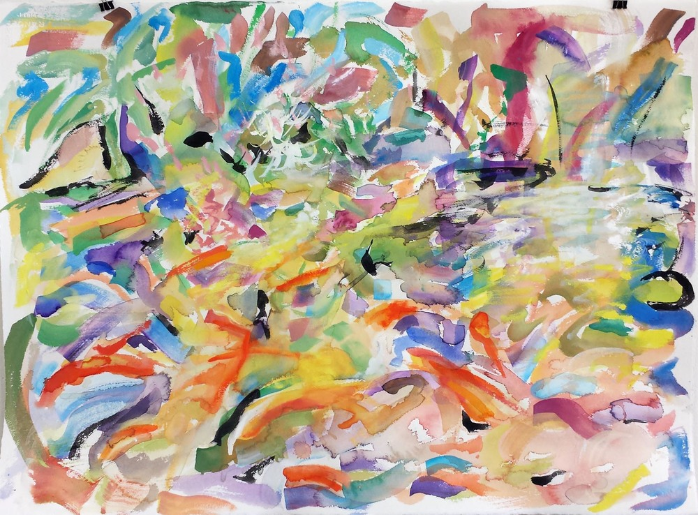 "Koi Impression V, gouache on paper, 22"" x 30"" 2015"