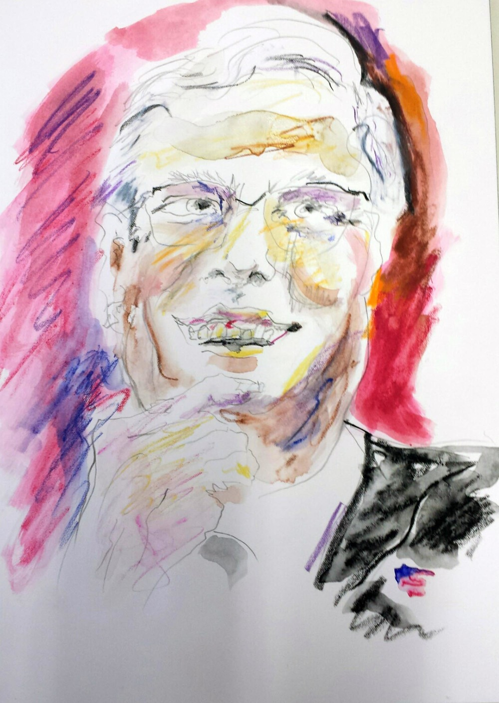 "Jeb Bush, mixed-media on paper, 12"" x 9"" 2015"