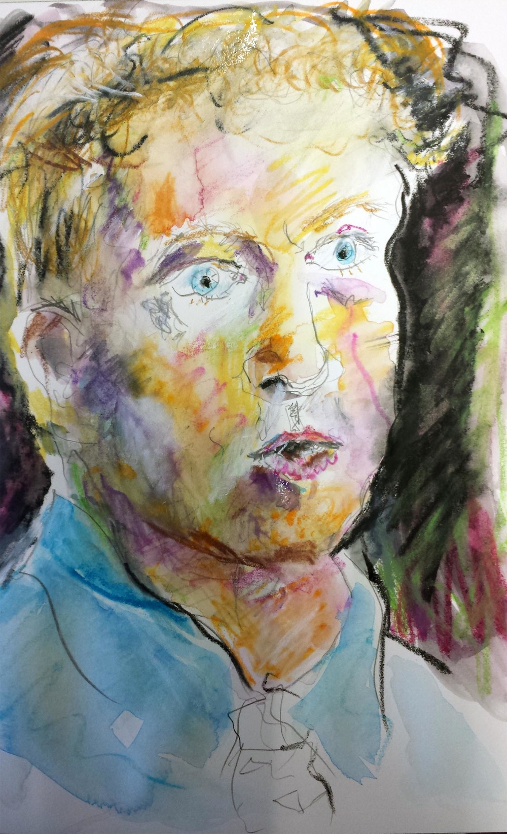 "Rand Paul, mixed-media on Arches paper, 12"" x 9"" 2015"
