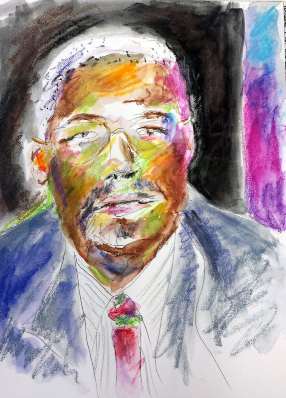 "Ben Carson, mixed-media on Arches paper, 12"" x 9"" 2015"