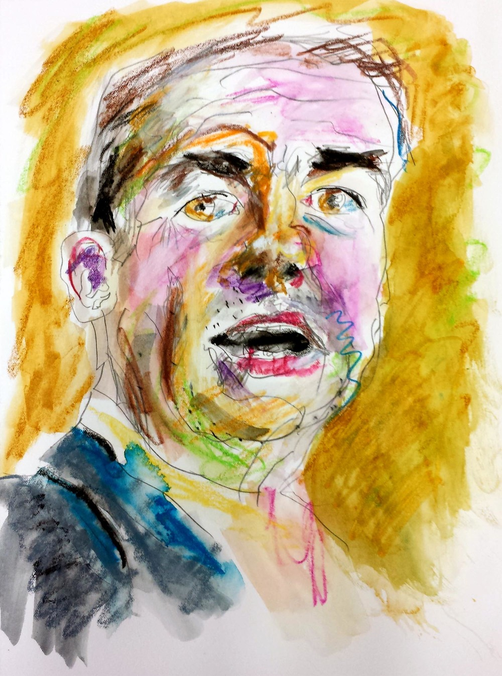 "Mike Huckabee, mixed-media on Arches paper, 12"" x 9"" 2015"