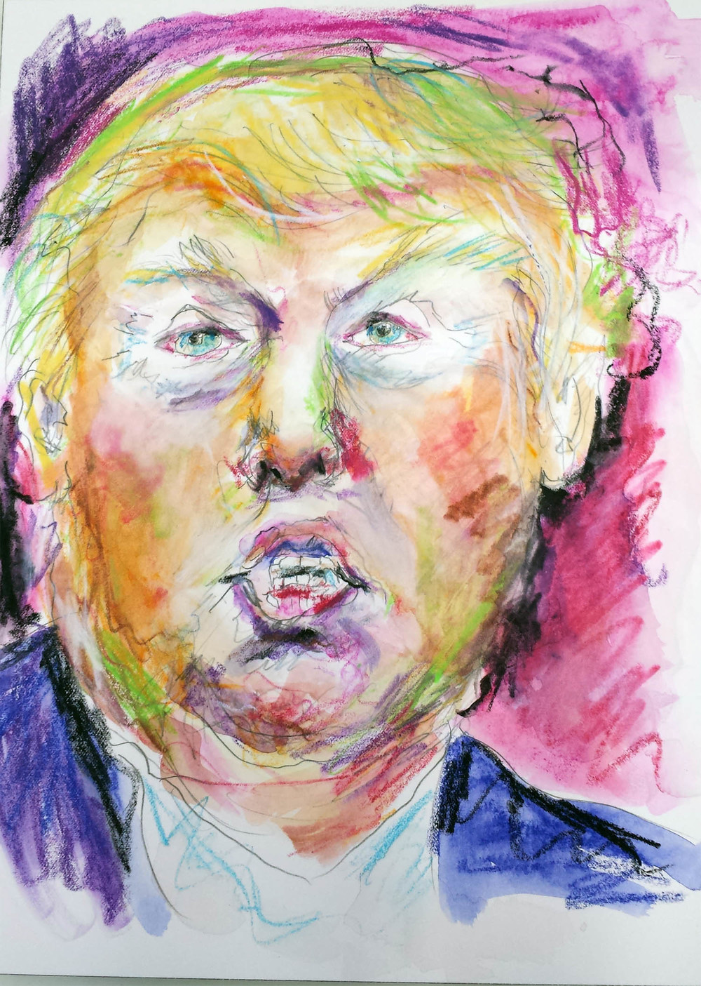 "Donald Trump, mixed-media on Arches paper, 12"" x 9"" 2015"