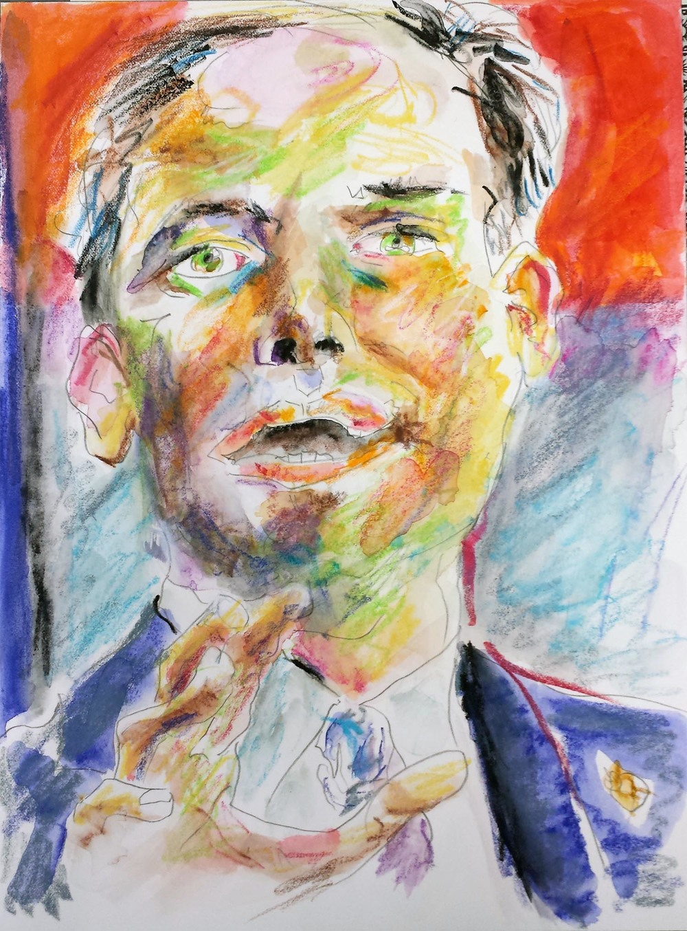 "Marco Rubio, mixed-media on Arches paper, 12"" x 9"" 2015"